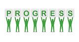 Men holding the word progress.