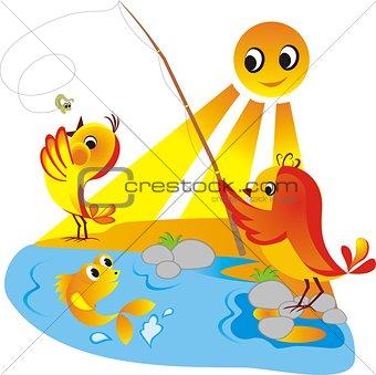 Chicks on fishing