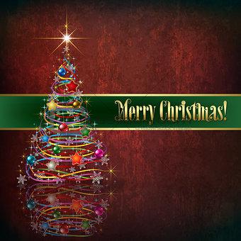 Celebration greeting with Christmas tree