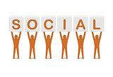 Men holding the word social.