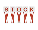 Men holding the word stock.