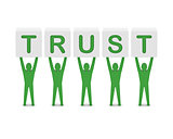 Men holding the word trust.