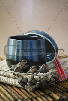 Black cup of tea