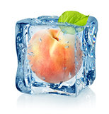 Ice cube and peach isolated