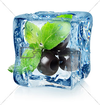 Olives in ice cube