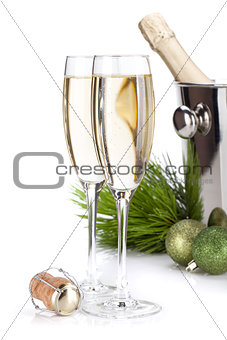 Champagne glasses and christmas decor