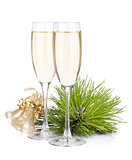 Champagne glasses and christmas bells