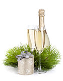 Champagne, fir tree and christmas decor