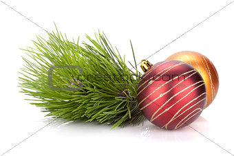 Christmas baubles and fir tree