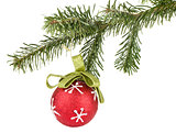 Christmas ball on fir tree