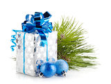 Christmas gift box and blue baubles