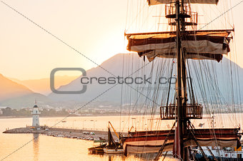 Mast frigate amid bay of Alanya.