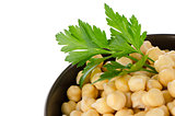 Chickpeas in a brown bowl