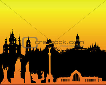 black silhouette of Kiev