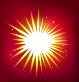 Shiny vector star isolated on red background