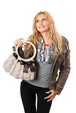 Portrait of pretty young blonde with a handbag