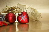 Christmas heart bauble background