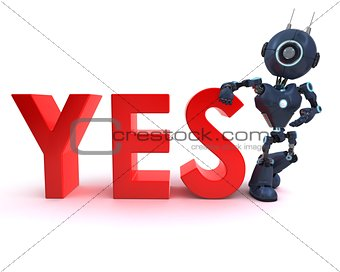 Android with yes sign
