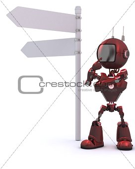 Android with road sign