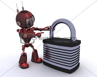Android with padlock