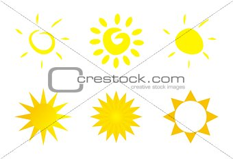 Vector set of hand drawn doodle yellow sun isolated on white background