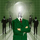 Lamp Head Businessman In Suit