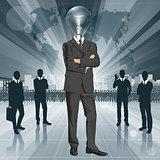 Lamp Head Businessman In Suit