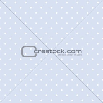Seamless vector pattern with white polka dots on a sweet pastel blue background.