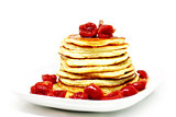 Pancakes with maple syrup and cherries