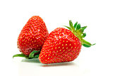 Red ripe strawberries over white