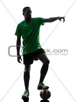 african man soccer player  free kick silhouette