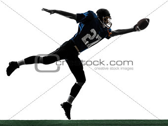 american football player man scoring touchdown silhouette