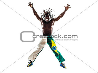 brazilian  black man jumping arms outstretched