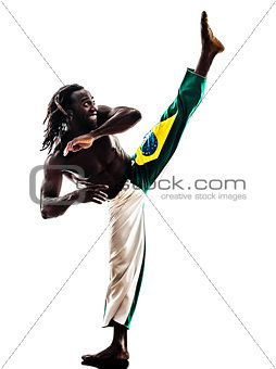 brazilian  black man dancer dancing capoiera