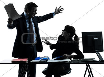 business woman man couple dispute conflict silhouette