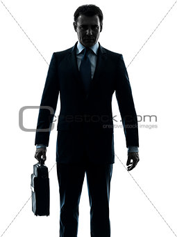 business man serious holding briefcase silhouette