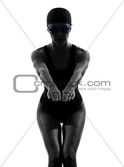 woman competition swimmer on starting silhouette