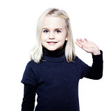 cute little girl saluting