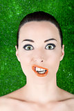 Portrait of a woman funny grimacing