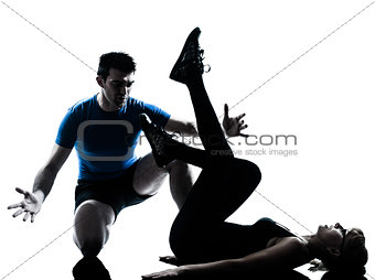 aerobics intstructor  with mature woman exercising