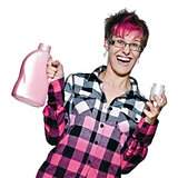 Excited trendy young woman holding detergent