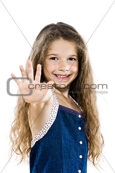 Little girl portrait high-five salute