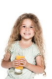 Little girl portrait hold orange juice