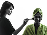 woman and make up artist  silhouette
