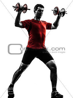 man exercising weight training silhouette