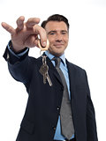 Man Businessman realtor teasing holding offering keys