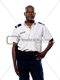 Portrait of policeman with hand on waist