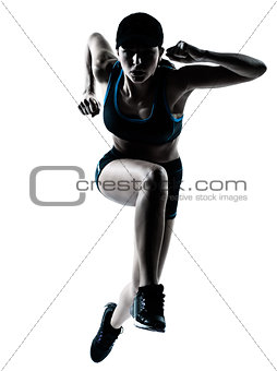 woman runner jogger jumping