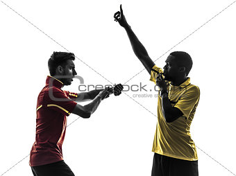 two men soccer player and referee blowing whistlecard silhouette