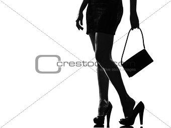 stylish silhouette woman tired painful feet
